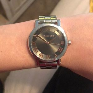 Michael Korda silver rose gold numbers watch